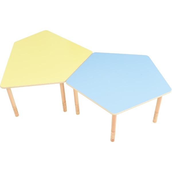 Stoły pięciokątne flexi, żółty i niebieski