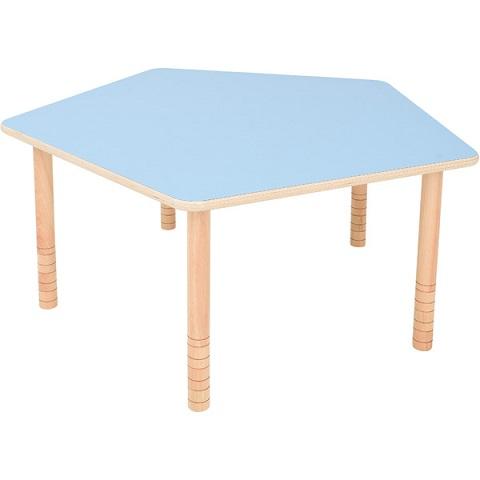 Pięciokątny, niebieski stół Flexi