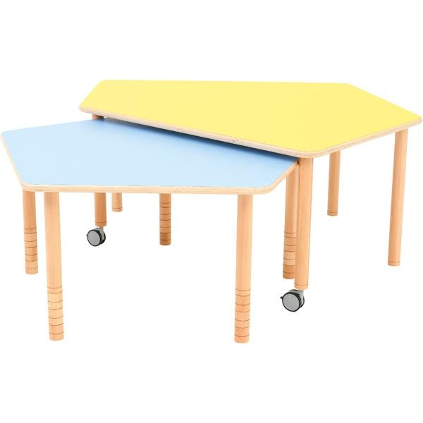 Dwa stoły pięciokątne Flexi do świetlic i kącików aktywności