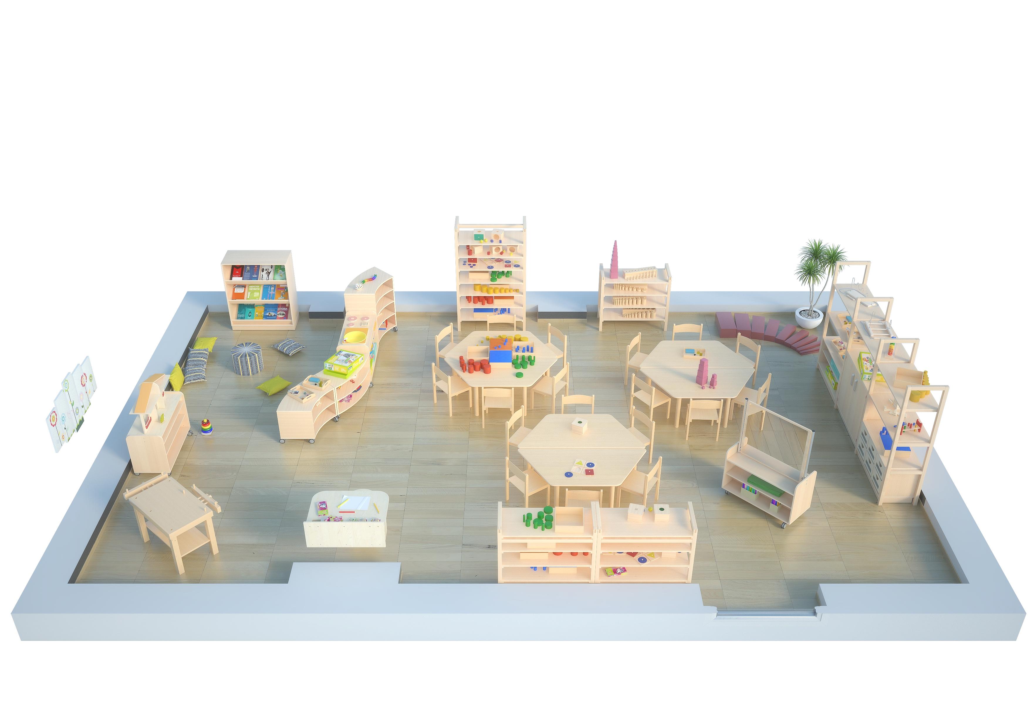 Przedszkole z meblami Flexi wyposażone w zgodzie z założeniami koncepcji