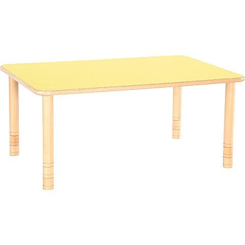 Żółty prostokątny stół Flexi do placówek edukacyjnych