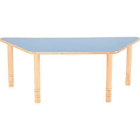 Trapezowy stół Flexi z niebieskim blatem