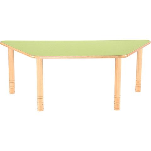 Trapezowy stół Flexi z zielonym blatem