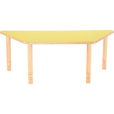 Trapezowy stół Flexi z zoltym blatem