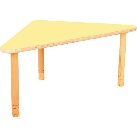 Trójkątny stół Flexi z żółtym blatem