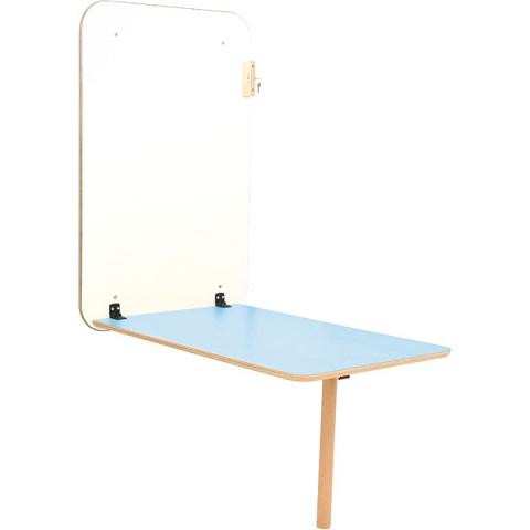 Stół przyścienny Flexi z niebieskim blatem