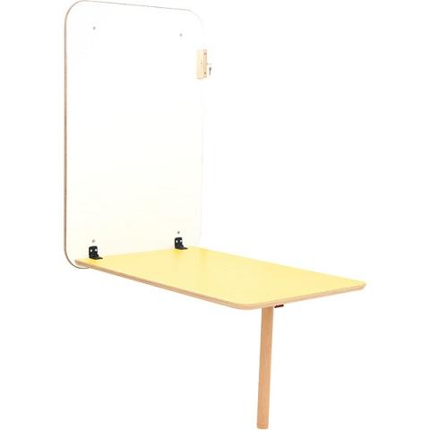 Stół przyścienny Flexi z żółtym blatem