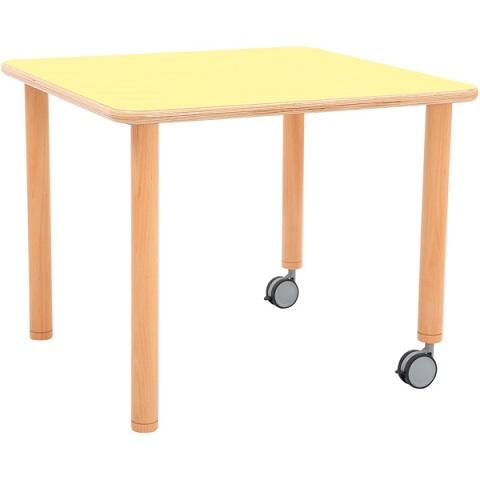 Stół Flexi z żółtym blatem, kwadratowy mobilny