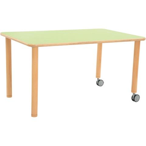 Stół Flexi z zielonym blatem, prostokątny mobilny