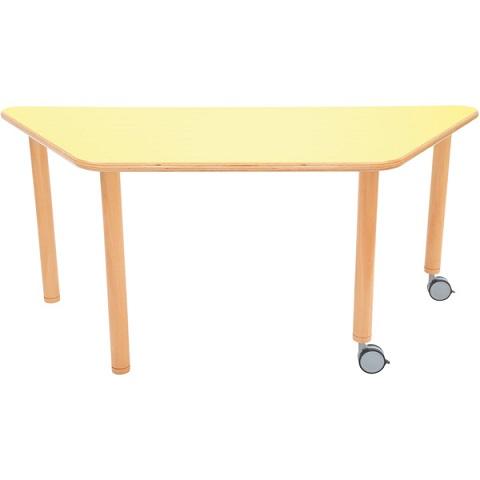 Stół Flexi z żółtym blatem, trapezowy mobilny
