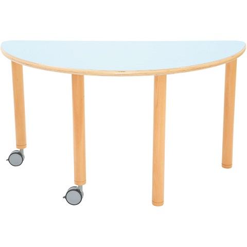 Stół Flexi z niebieskim blatem, półokrągłuy mobilny