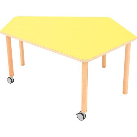 Stół Flexi z żółtym blatem, pięciokątny mobilny