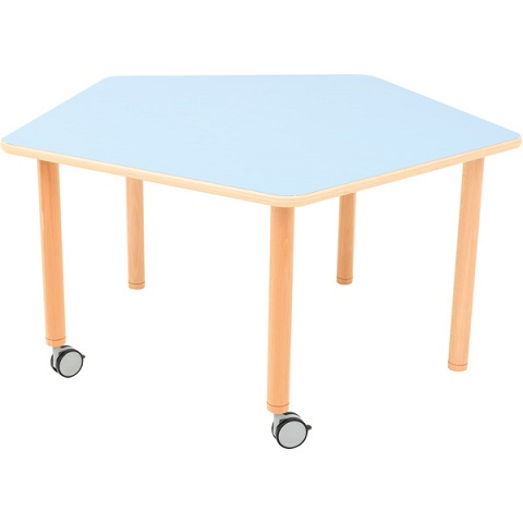 Stół Flexi z niebieskim blatem, pięciokątny mobilny