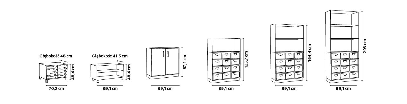Wymiary mebli z kolekcji Flexi