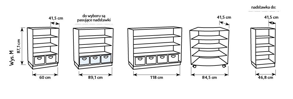 Wymiary szafki M z kolekcji Flexi