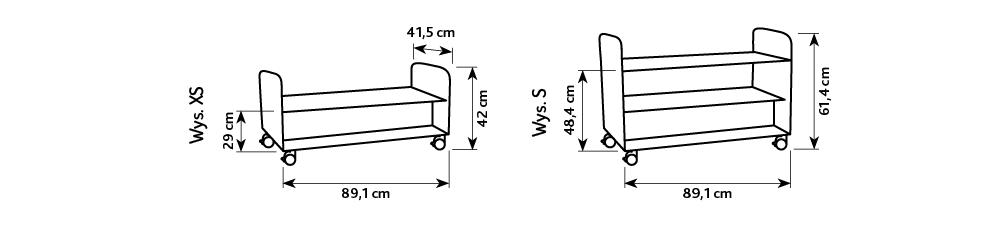 Wymiary mobilnych szafek z kolekcji Flexi