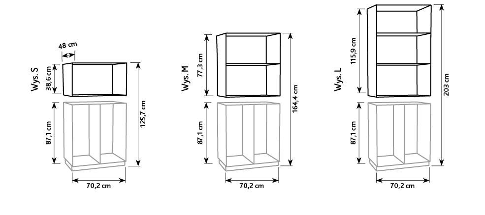 Nadstawki do szafek Flexi na plastikowe pojemniki