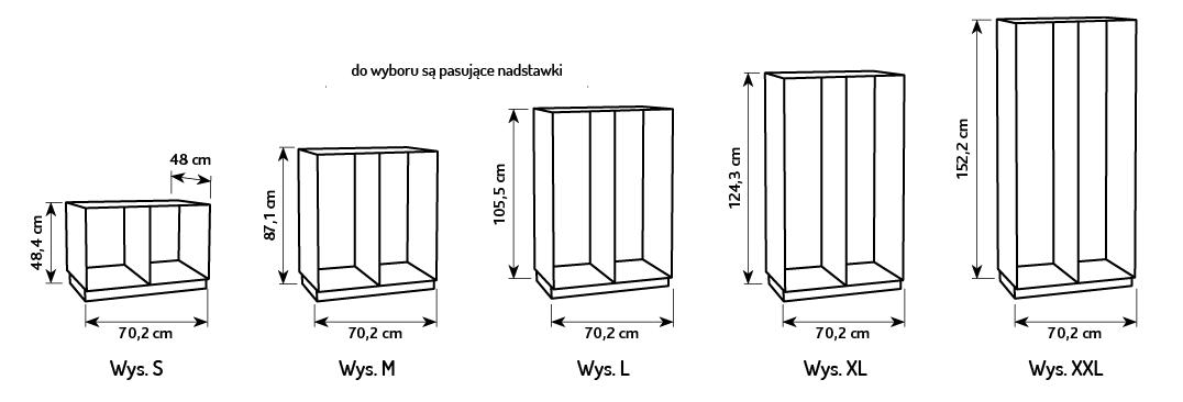 Wymiary szafek Flexi na plastikowe pojemniki