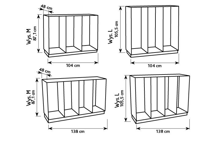 Wymiary mebli flexi, specyfikacja kolekcji